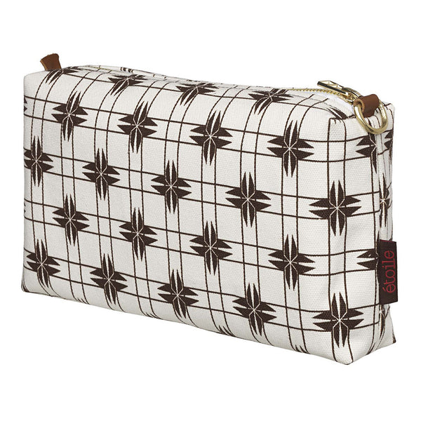 Pueblo Geometric Pattern Canvas Wash (toiletry) Bag - Chocolate Brown