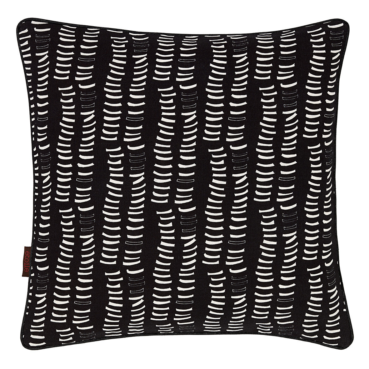 Graphic Adams Rib Pattern Linen Union Printed Throw Pillow in Black and White
