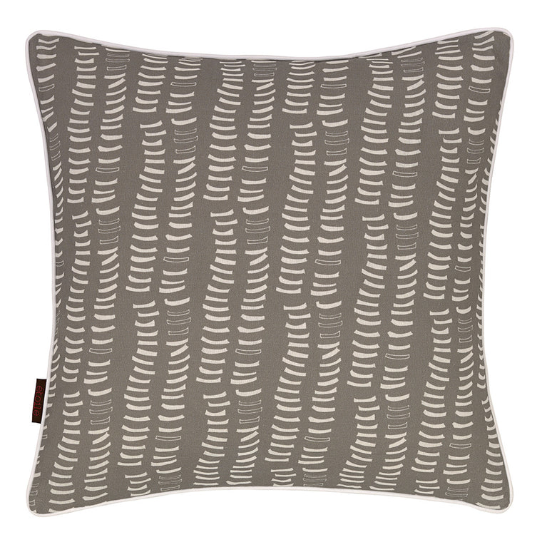 Graphic Adams Rib Pattern Linen Union Printed Cushion in Light Dove Grey and White