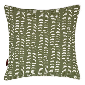 Graphic Adams Rib Pattern Linen Union Printed Cushion in Light Avocado Green