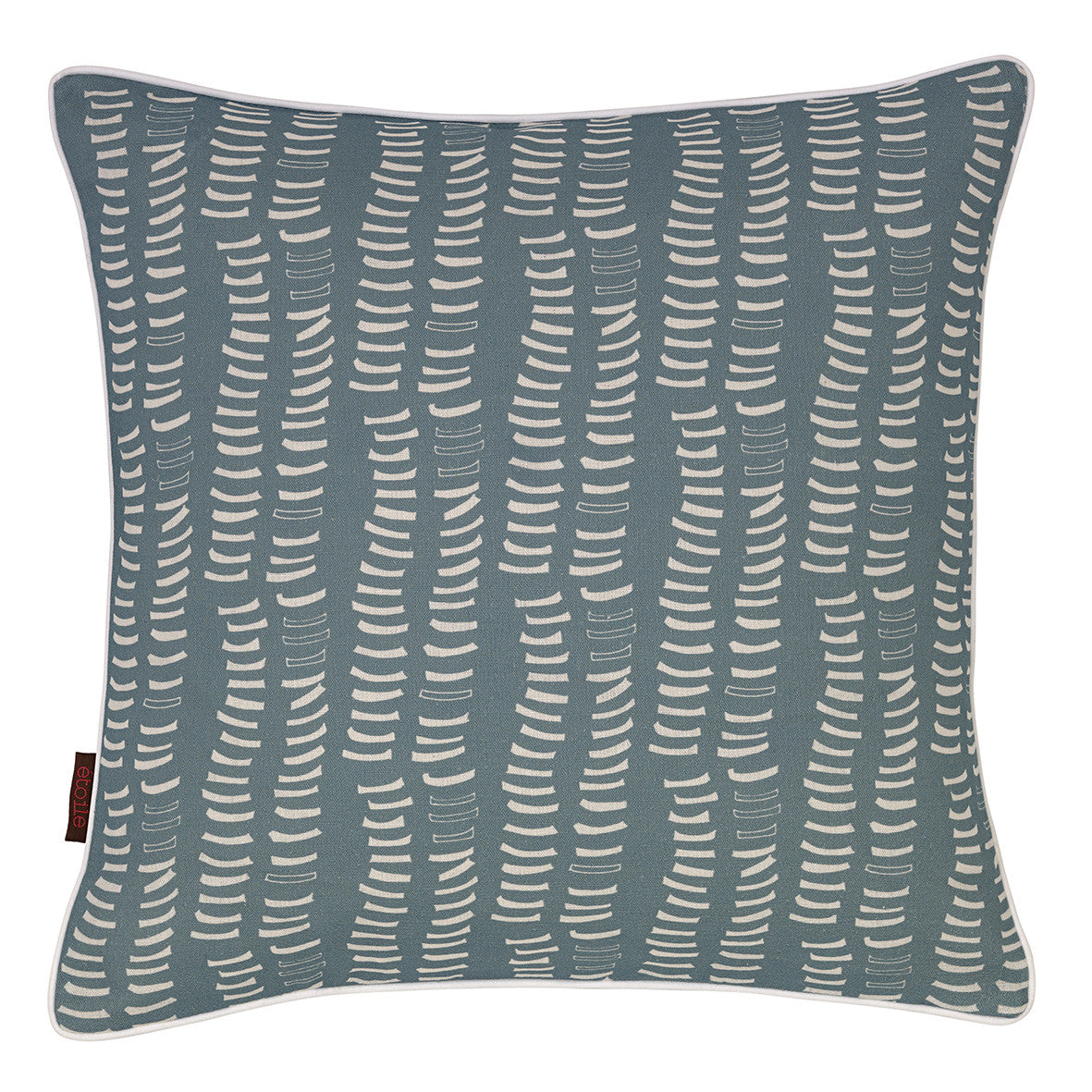 Graphic Adams Rib Pattern Linen Union Printed Cushion in Light Chambray Blue and White