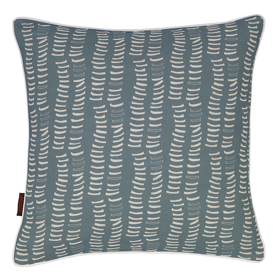 Graphic Adams Rib Pattern Linen Union Printed Decorative Throw Pillow in Light Chambray Blue and White