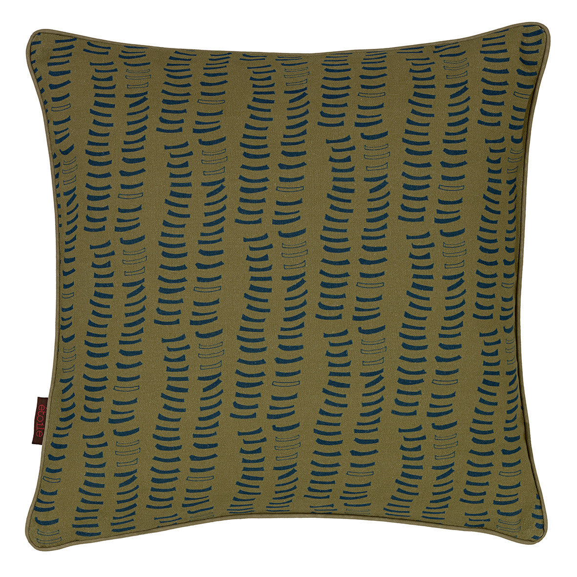 Graphic Adams Rib Pattern Linen Union Printed Cushion in Antique Moss Green and Petrol Blue