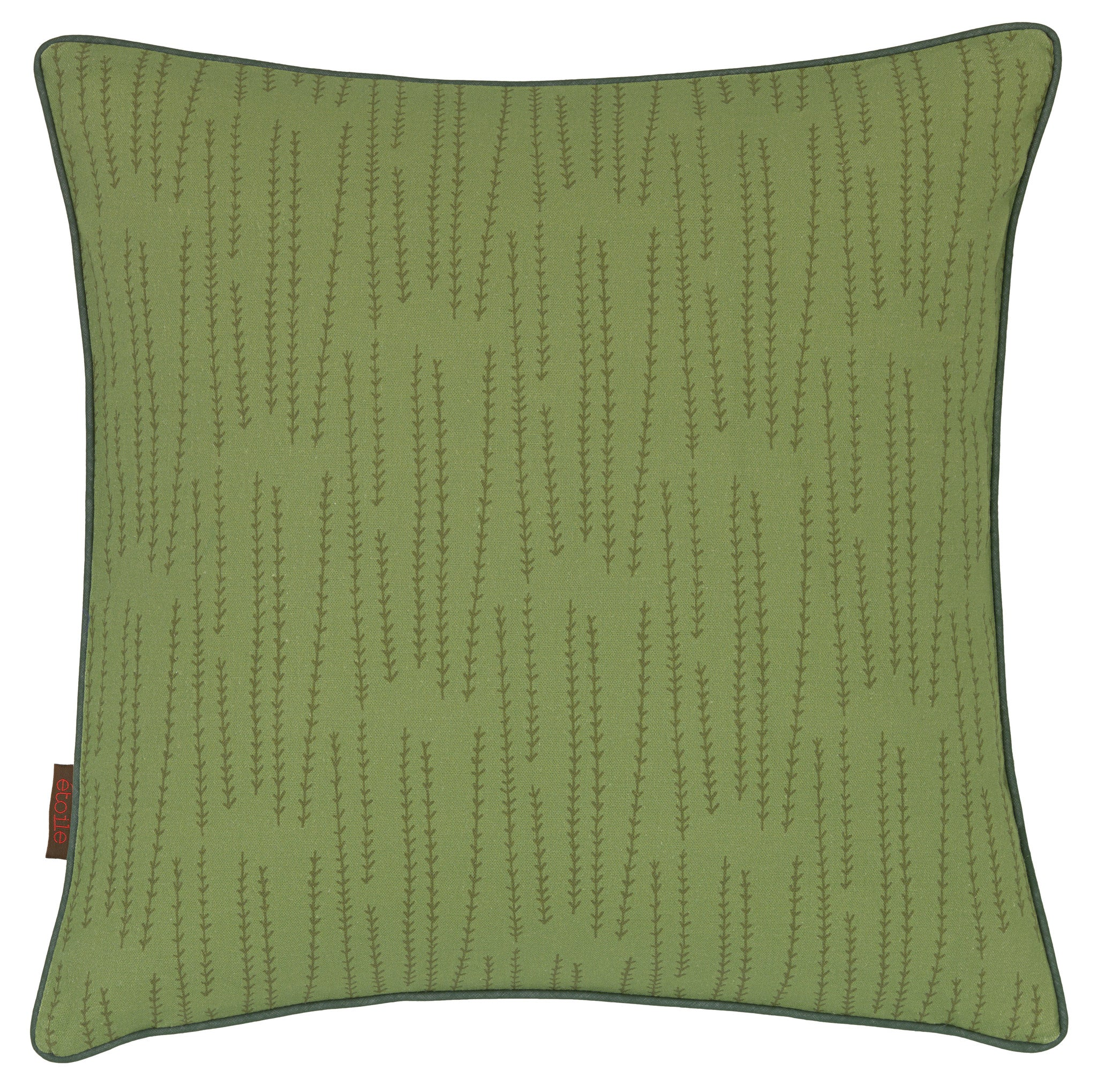 Graphic Rosemary Pattern Linen Union Printed Cushion in Avocado Green 45x45cm