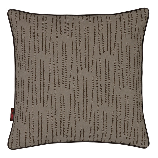 Graphic Rosemary Pattern Linen Union Printed Cushion in Dove Grey