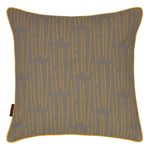 Graphic Rosemary Pattern Linen Union Printed Cushion in Light Dove Grey and Saffron Yellow