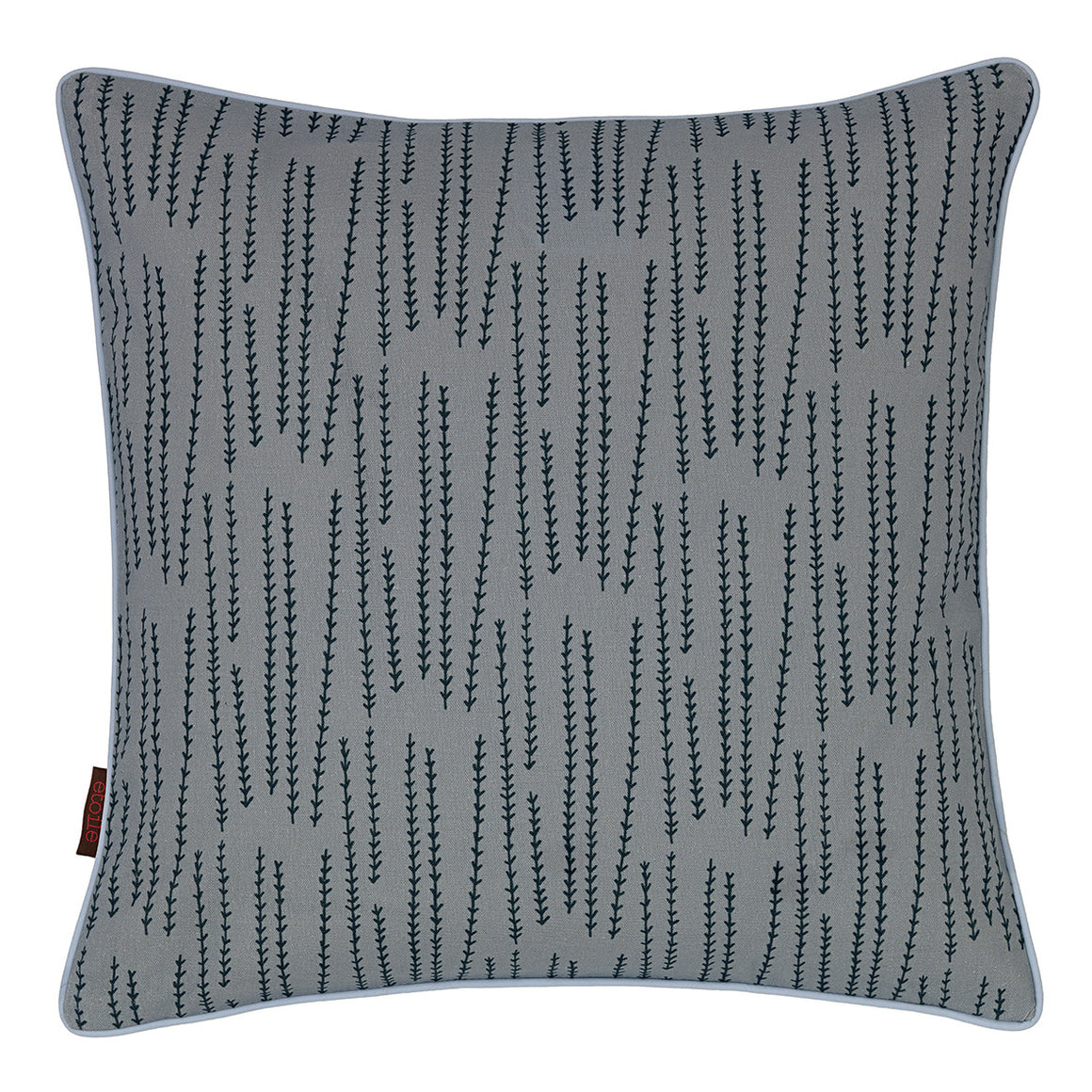 Graphic Rosemary Pattern Linen Union Printed Cushion in Winter Blue 45x45cm