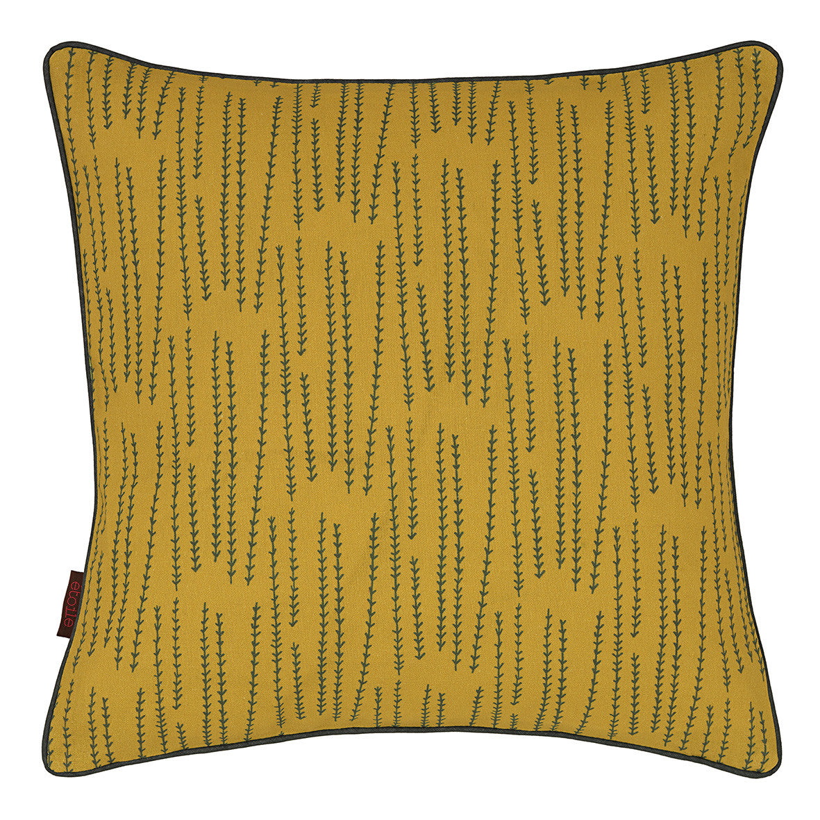 Graphic Rosemary Pattern Linen Union Printed Cushion in Mustard Yellow and Olive Green