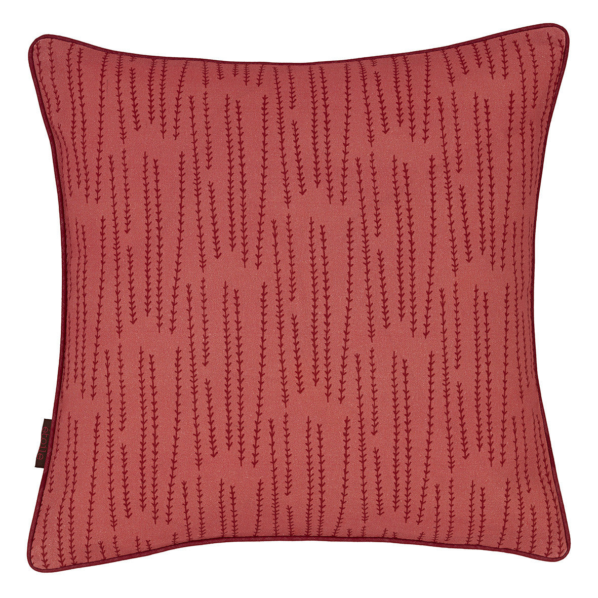 Graphic Rosemary Pattern Linen Union Printed Throw Pillow in Coral Pink and Vermilion Red Ships from Canada worldwide including the USA