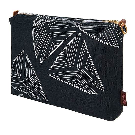 Stay Sail Pattern water resistant canvas vanity or toiletry bag in Black ships from canada worldwide including the USA