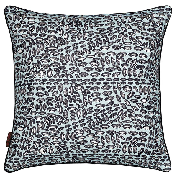 Graphic Cocoa Seed Pattern Linen Cotton Cushion in Light Celeste Blue 45x45cm