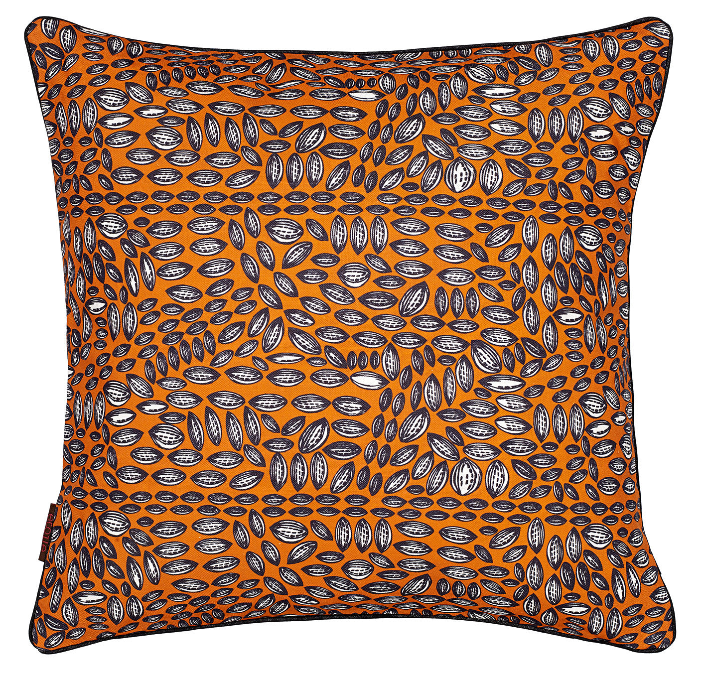 Graphic Cocoa Seed Pattern Linen Cushion in Bright Pumpkin Orange 45x45cm
