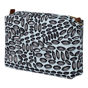 Graphic Cocoa Seed Pattern Canvas Wash (toiletry) Bag in Light Celeste Blue