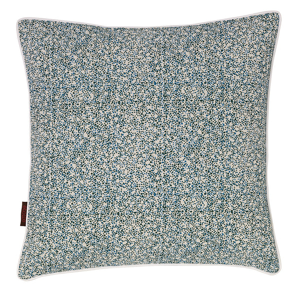 Multicolour Spots Confetti Pattern Linen Union Printed Cushion in Moss Green and Turquoise Blue