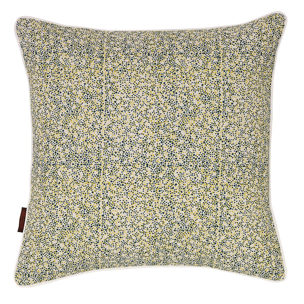 Confetti Spots Pattern Linen Union Printed Cushion in Petrol Blue & Chartreuse Yellow 45x45cm