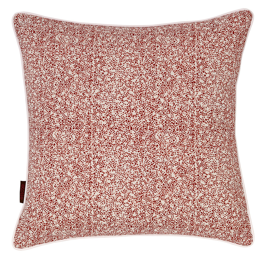 Multicolour Confetti Spots Pattern Linen Union Printed Cushion in Coral Pink & Vermilion Red