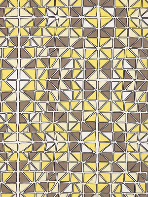 Mosaic Stained Glass Pattern Cotton Linen Home Decor Interiors Fabric by the Meter or yard for curtains, blinds or upholstery in Maize Yellow & Grey ships from Canada (USA)