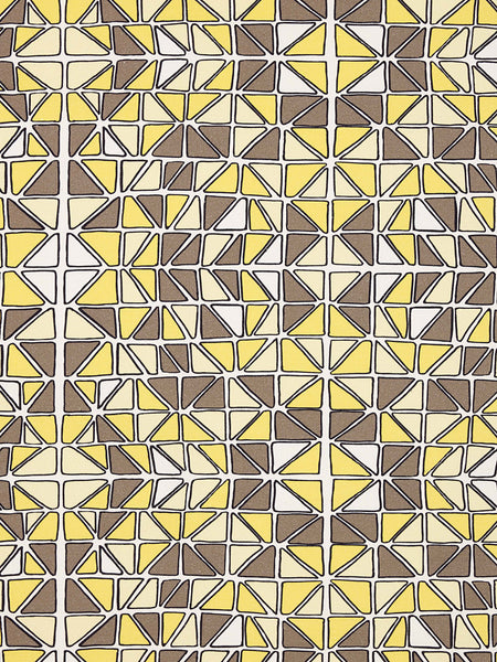Mosaic Stained Glass Pattern Cotton Linen Fabric by the Meter in Maize Yellow & Grey