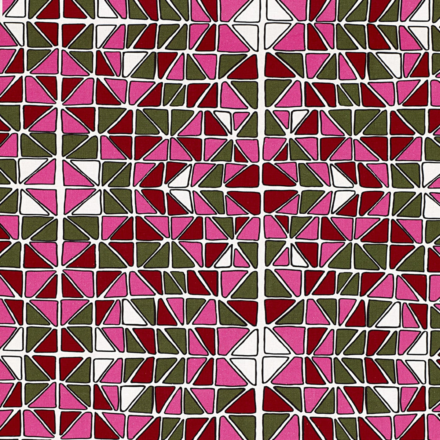 Mosaic Stained Glass Pattern Cotton Linen Fabric by the Meter in Fuchsia Pink, Green, Red