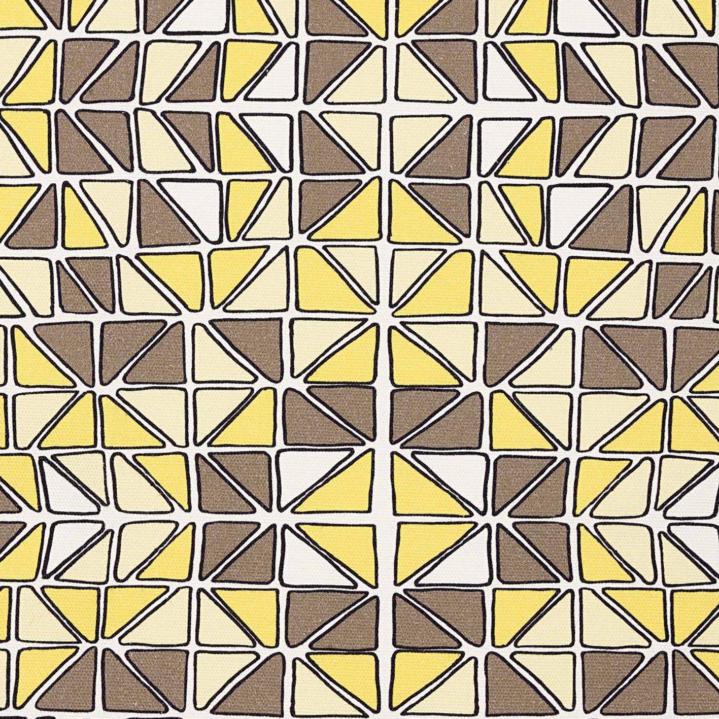 Mosaic Stained Glass Pattern Cotton Linen Fabric by the Meter - Maize Yellow & Grey
