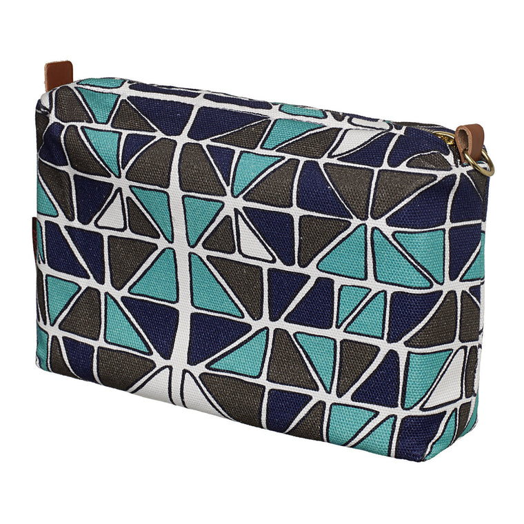 Mosaic Stained Glass Pattern Canvas Wash (toiletry) & Cosmetic Bag in Turquoise Blue, Aubergine Purple and Grey