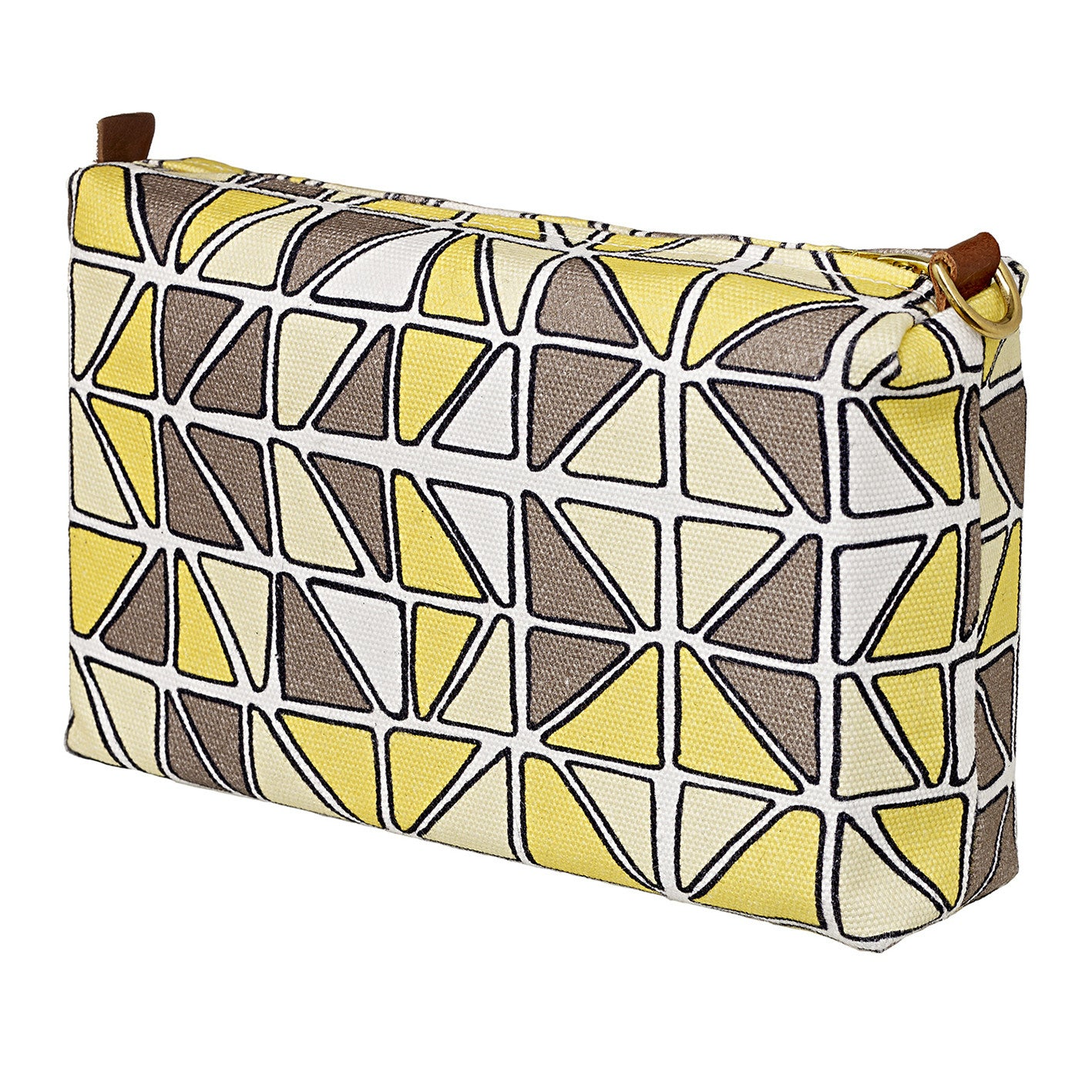 Mosaic Stained Glass Pattern Canvas Wash (toiletry) Bag in Maize & Straw Yellow and Grey