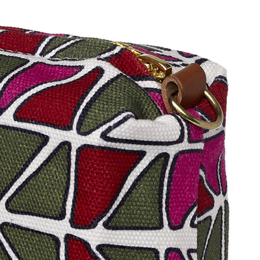 Stained Glass Mosaic Pattern Canvas Wash (toiletry) Bag in Fuchsia Pink with Olive Green and Red