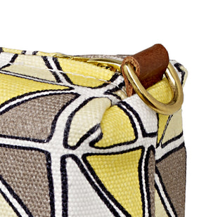 Mosaic Stained Glass Pattern Canvas Wash (toiletry) Bag in Maize & Straw Yellow & Grey