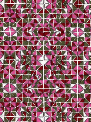 Mosaic Stained Glass Pattern Cotton Linen Fabric by the Meter in Fuchsia Pink, Green and Red