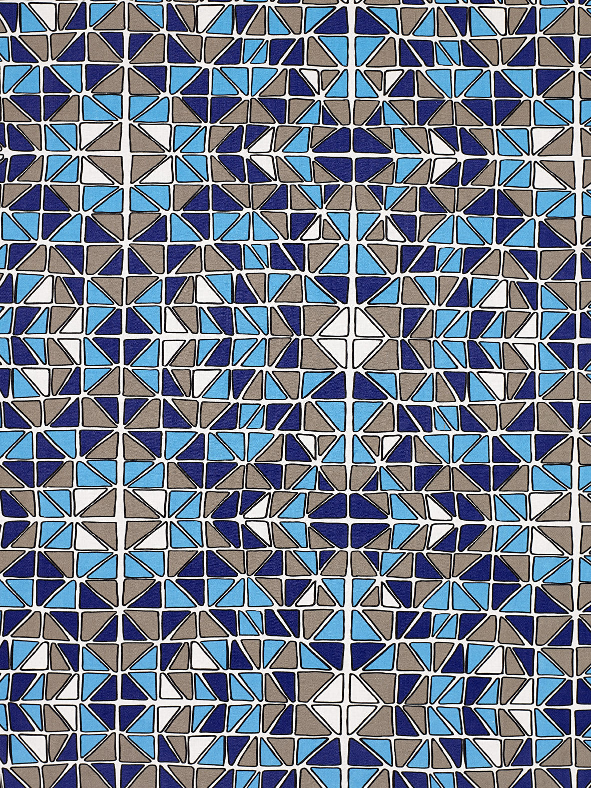 Mosaic Stained Glass Pattern Cotton Linen Home Decor Interiors Fabric by the Meter or yard for curtains, blinds or upholstery in Turquoise Blue, Aubergine & Grey ships from Canada (USA)