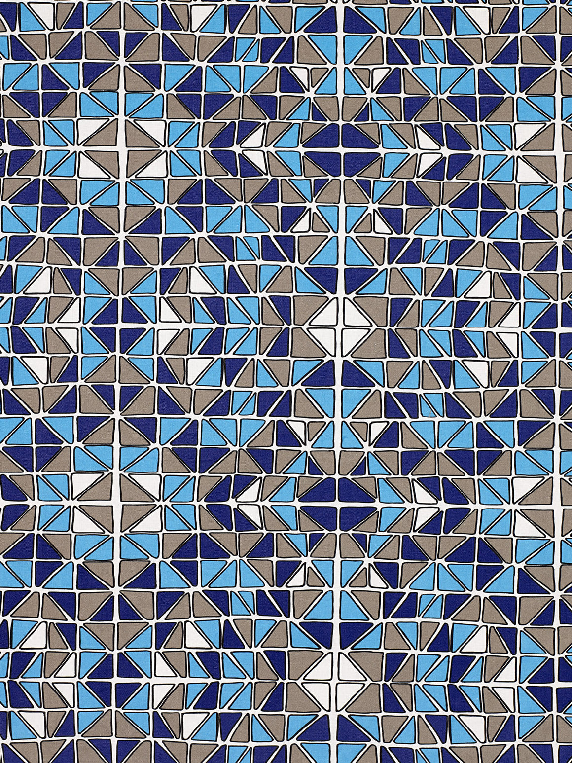 Mosaic Stained Glass Pattern Cotton Linen Fabric by the Meter in Turquoise Blue, Aubergine & Grey