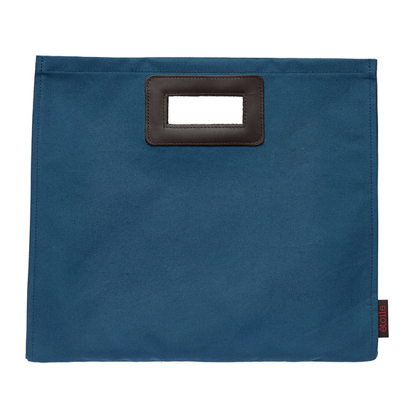 Stephanie Resin Coated Canvas Knitting Clutch Bag in Petrol Blue