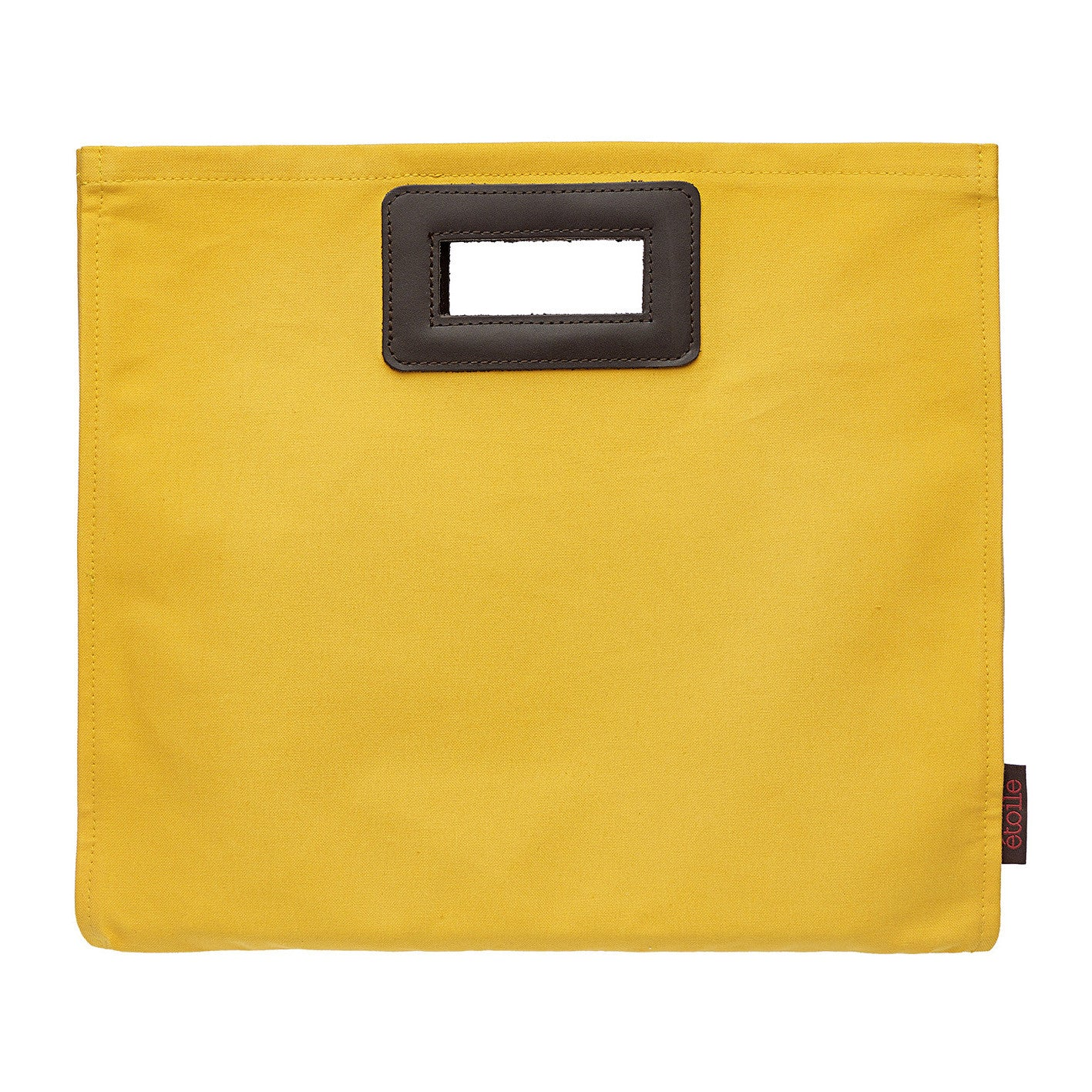 Stephanie Resin Coated Canvas Knitting Style Clutch Bag in Maize Yellow
