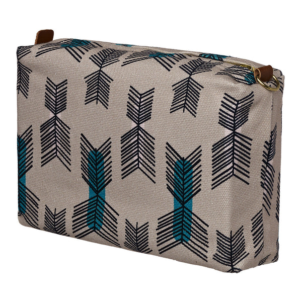 Stitchwork Geometric Pattern Canvas Wash (toiletry) Bag - Putty Taupe