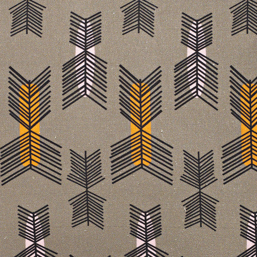 Stitchwork Geometric Pattern cotton linen Home Decor interiors Fabric by the meter or yard in Stone Grey with pumpkin and light pink for curtains, blinds or upholstery ships from Canada worldwide (USA)