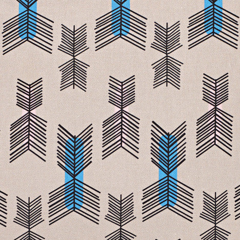 Stitchwork Geometric Pattern cotton linen Home Decor Interiors Fabric by the meter or yard for curtains, blinds, upholstery in Putty (Taupe) with light pink and turquoise ships from Canada (USA)