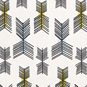 Stitchwork Geometric Pattern cotton linen home decor interiors Fabric by the meter or yard for curtains, blinds or upholstery- White with yellow and light blue - ships from Canada worldwide (USA)