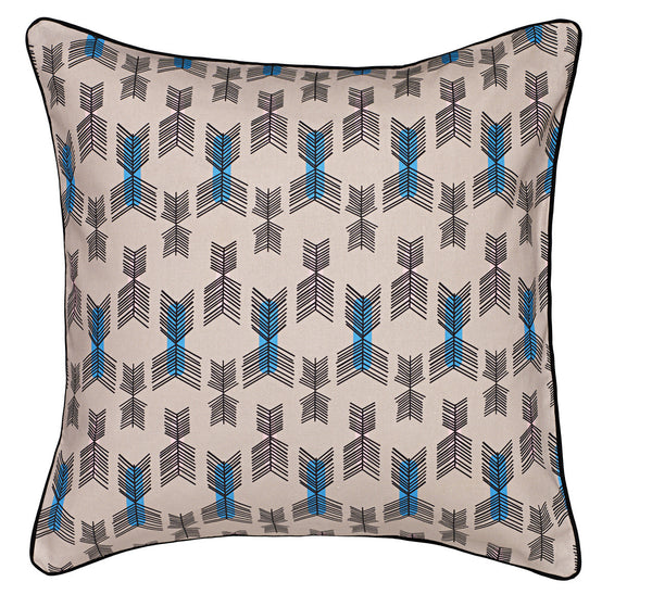 Stitchwork Geometric Pattern Cotton Linen Cushion in Putty Pink 45x45cm