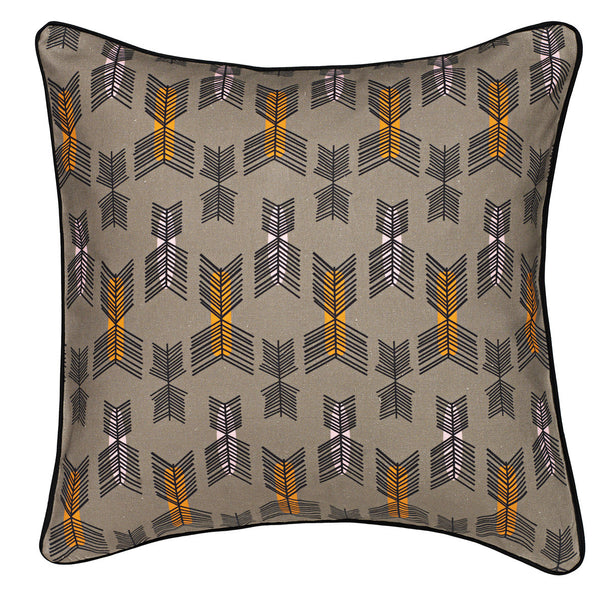 Stitchwork Geometric Pattern Cotton Linen Cushion in Stone Grey 45x45cm