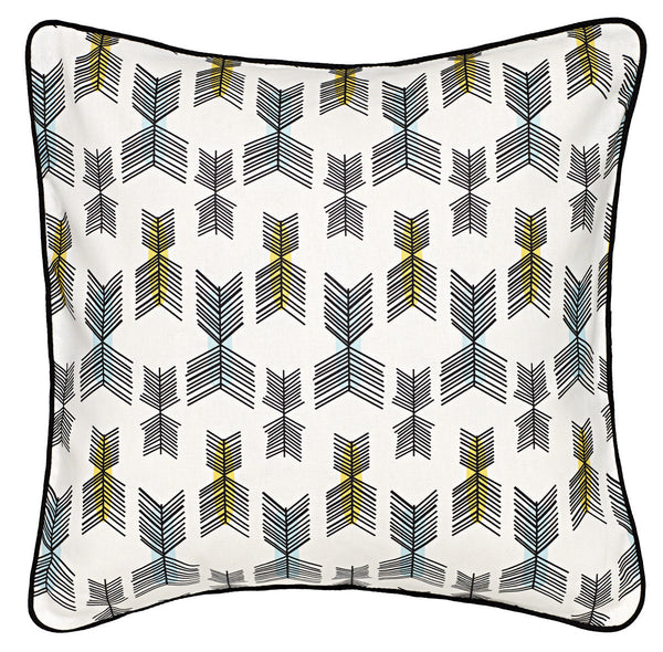 Stitchwork Geometric Pattern Linen Cotton Cushion - White with Yellow & light celeste blue 45x45cm