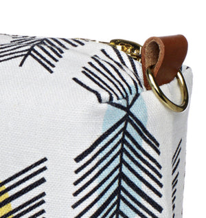 Stitchwork Geometric Pattern Canvas Wash (toiletry) Bag in White