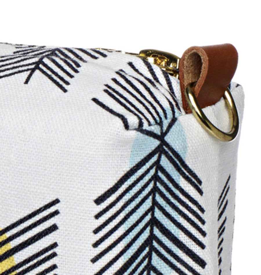 Stitchwork Geometric Pattern Canvas Wash (toiletry) Bag - White