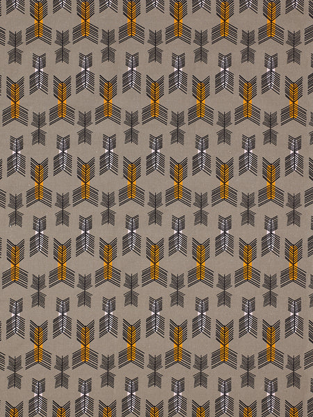 Stitchwork Geometric Pattern cotton linen Fabric by the meter in Stone Grey with pumpkin and light pink