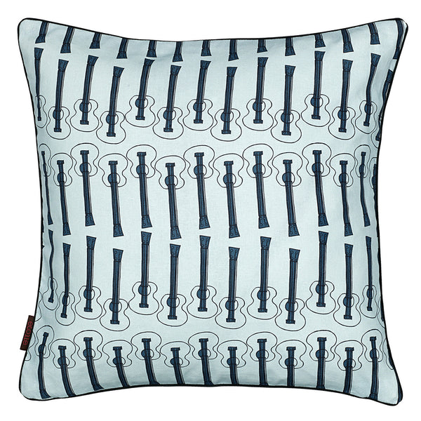 Ukulele Guitar Pattern Linen Cotton Cushion in Light Celeste Blue 45x45cm