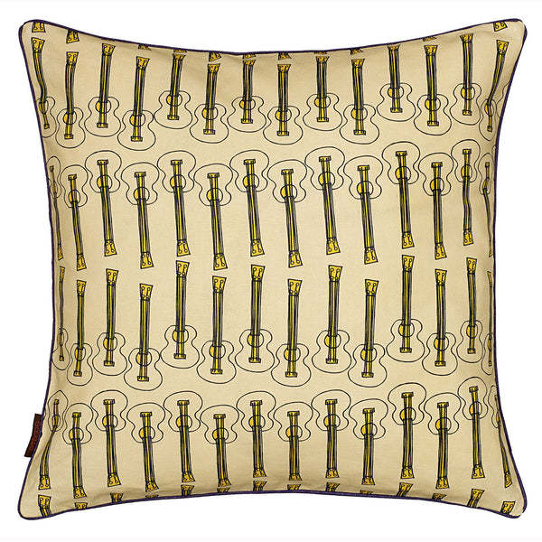 Ukulele Guitar Pattern Linen Cotton Cushion in Light Straw Yellow 45x45cm