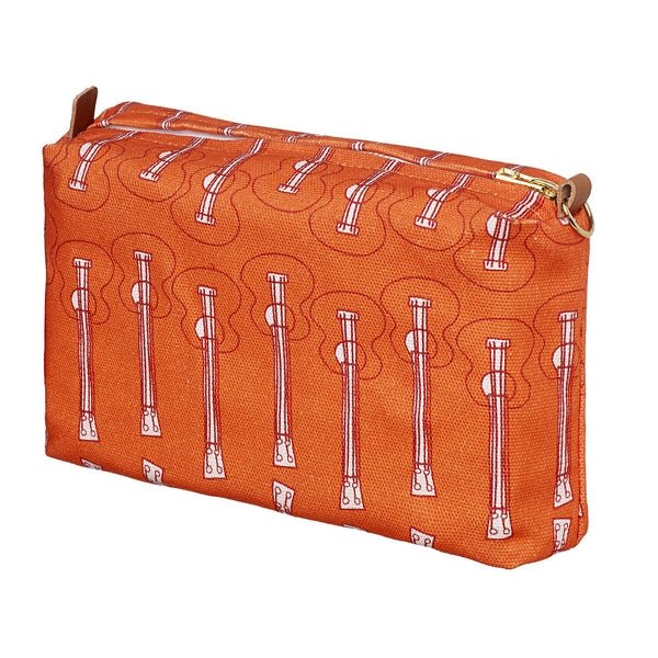 Ukelele Guitar Pattern Canvas Wash (toiletry) Bag in Bright Pumpkin Orange