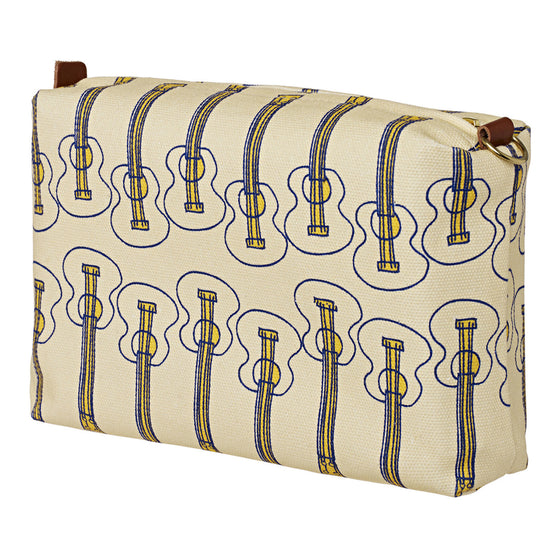 Graphic Ukulele Guitar Pattern Canvas Wash (toiletry) Bag in Straw Yellow
