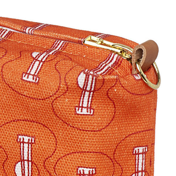 Ukelele Guitar Pattern Canvas travel toiletry, cosmetic or wash Bag in Bright Pumpkin Orange Ships was Canada (USA)