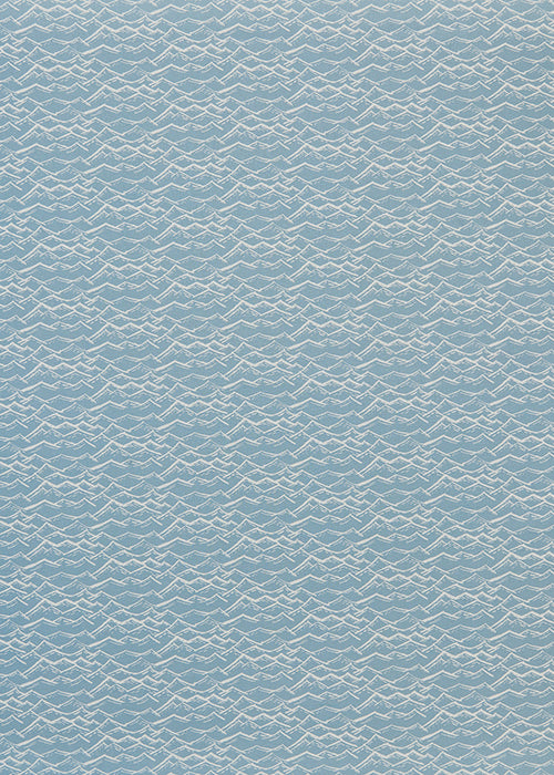 Waves Block print pattern home interior decor in pale winter blue fabric curtains blinds and upholstery mater yard canada usa cotton linen