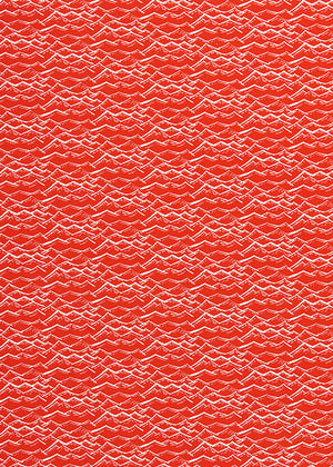Waves Block Print Pattern Home Interior Decor Curtain, Blinds, Upholstery Fabric by meter or yard in cotton linen in Geranium Red ships from Canada USA